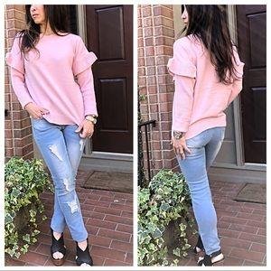 Sweaters - Paris Spring ruffle sleeves sweater
